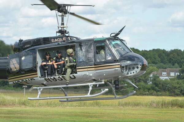 Eagle One lifts off to Stratford during the Region 1 Emergency Planning Team Preparedness and Response Field Day on Monday September 26, 2016 at Sherwood island State Park in Westport Conn.