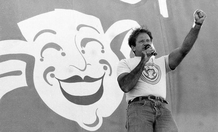 Robin Williams performs during Comedy Day in Golden Gate Park in July 1987. Photo: Deanne Fitzmaurice, The Chronicle