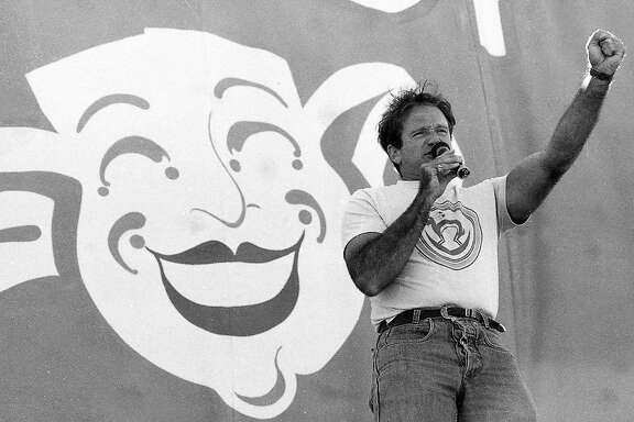 7/25/1987 Robin Williams performs during Chronicle Comedy Day at the Polo Fields in Golden Gate Park.