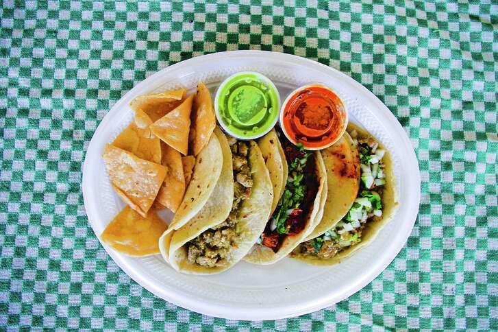 "Guisado Verde Tacos from La Nueva Fresh & Hot in Dallas from ""The Tacos of Texas"" by Mando Rayo and Jarod Neece (University of Texas Press)."