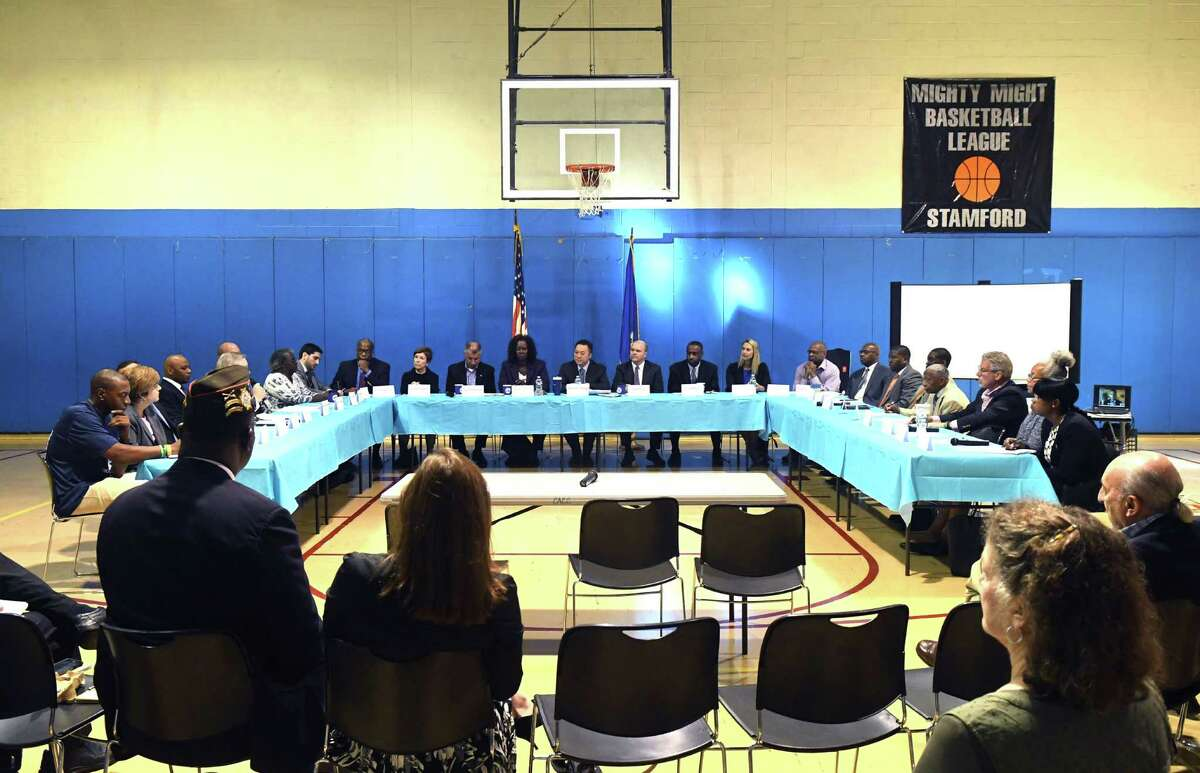 Led by Rep. William Tong, members of Fairfield County?'s state delegation host a special Community Action Conference at the Chester Addison Community Center in Stamford, Conn., Monday, Sept. 26, 2016. Local leaders including Mayor David Martin and Chief of Police Jonathan Fontneau, members of the clergy and religious institutions, community leaders and social service organizations, and other advocacy groups including the NAACP focused on methods to prevent gun violence in Stamford. The conversation touched on strategies that have worked in other cities and how to implement similar strategies locally.
