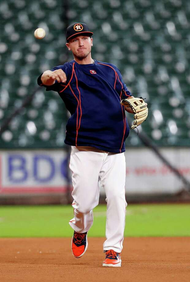 Houston Astros Alex Bregman works out during batting practice before the start of an MLB game at Minute Maid Park, Monday, Sept. 26, 2016 in Houston. Photo: Karen Warren, Houston Chronicle / 2016 Houston Chronicle