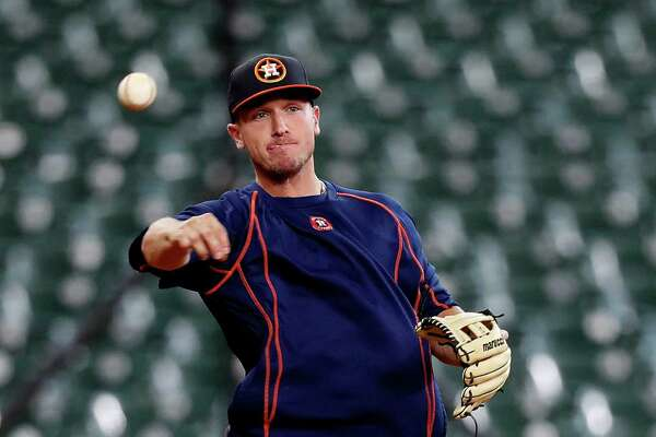 Houston Astros Alex Bregman works out during batting practice before the start of an MLB game at Minute Maid Park, Monday, Sept. 26, 2016 in Houston.