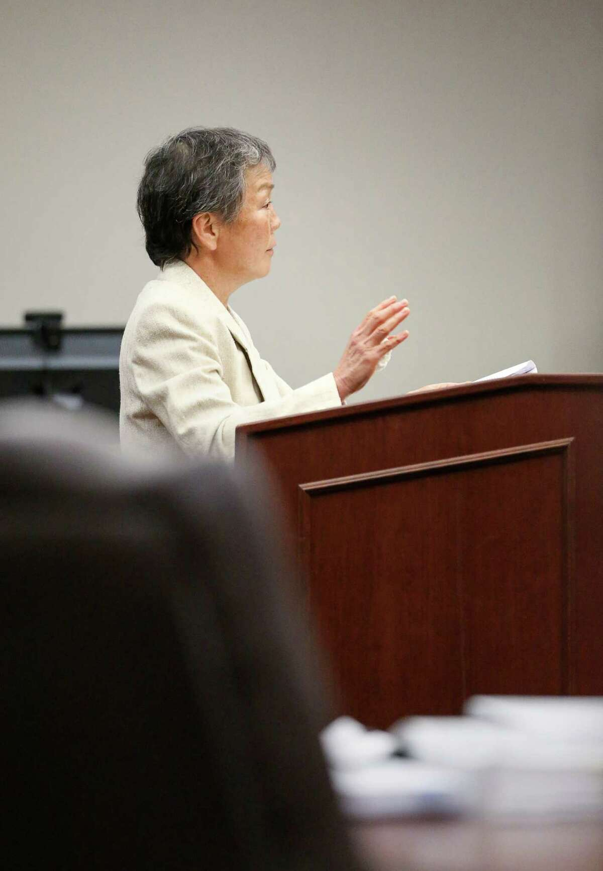 Fort Bend County Assistant District Attorney Gail McConnell is seen during a hearing in the 434th District Court on Monday in Richmond.