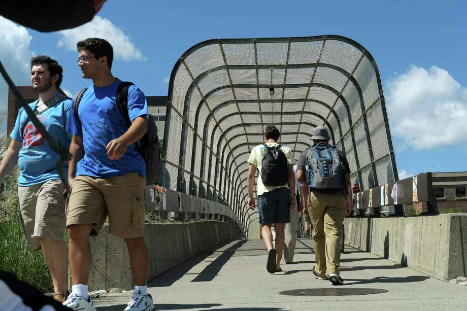 Students on the RPI campus make their way to and from classes on Monday, Aug. 29, 2016, in Troy, N.Y.      (Paul Buckowski / Times Union) Photo: PAUL BUCKOWSKI / 20037821A