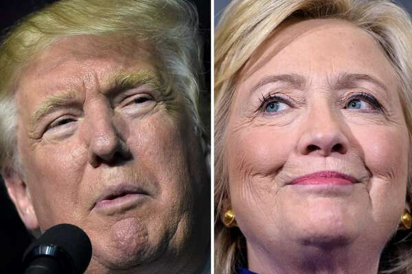 This combination of images shows Republican presidential nominee Donald Trump in Roanoke, Virginia on September 24, 2016 and Democratic presidential nominee Hillary Clinton September 21, 2016 in Orlando, Florida. Hillary Clinton and Donald Trump are in a virtual dead heat in their bitter race for the White House on the eve of their first head-to-head presidential debate, a new poll showed September 25, 2016. The Washington Post-ABC News poll found that Clinton's slim margin from last month has now vanished. Instead, the Democrat and her Republican rival tied at 41 percent support among registered voters, with Libertarian Party nominee Gary Johnson at seven percent and Green Party nominee Jill Stein at two percent.  / AFP / DESK        (Photo credit should read DESK/AFP/Getty Images)