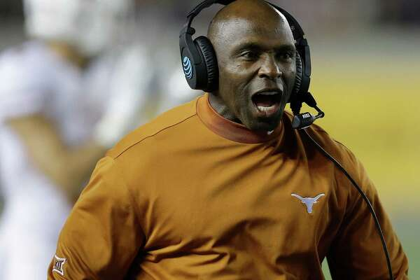 Texas coach Charlie Strong yells during the first quarter of an NCAA college football game against California Saturday, Sept. 17, 2016, in Berkeley, Calif. (AP Photo/Ben Margot)