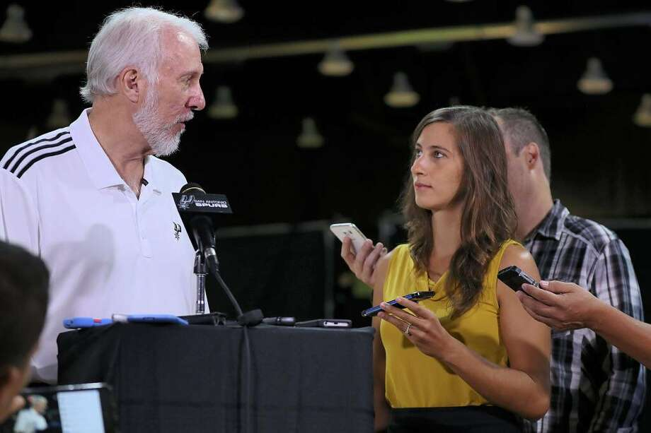 San Antonio Spurs head basketball coach Gregg Popovich talks with reporters during Spurs Media Day, Monday, Sept. 26, 2016, in San Antonio. Photo: Eric Gay /Associated Press