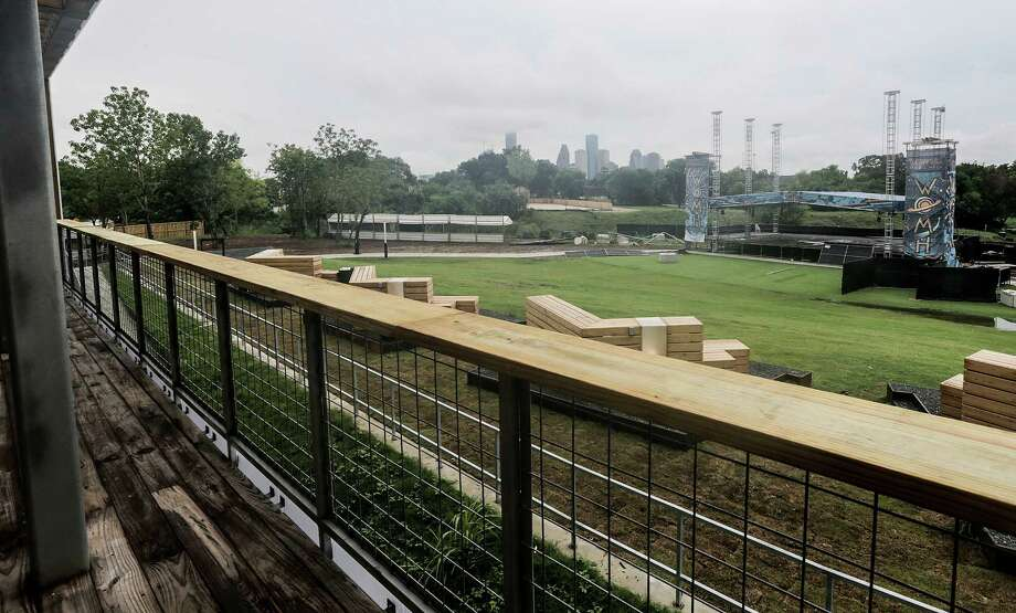 The view from a balcony of downtown Houston and the outdoor stage at White Oak Music Hall on Aug. 16, 2016, in Houston. ( Elizabeth Conley / Houston Chronicle ) Photo: Elizabeth Conley, Staff / © 2016 Houston Chronicle