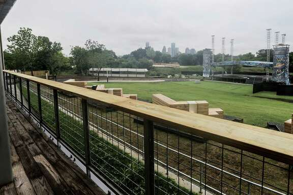 The view from a balcony of downtown Houston and the outdoor stage at White Oak Music Hall on Aug. 16, 2016, in Houston. ( Elizabeth Conley / Houston Chronicle )