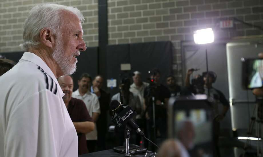 San Antonio Spurs head coach Gregg Popovich answers questions from the media during Spurs Media Day held Monday Sept. 26, 2016 at the Spurs practice facility. Photo: Edward A. Ornelas/San Antonio Express-News