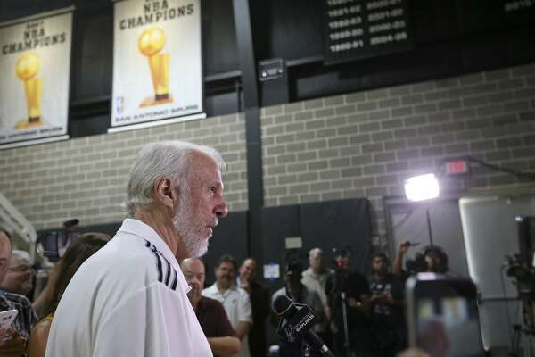 San Antonio Spurs head coach Gregg Popovich answers questions from the media during Spurs Media Day held Monday Sept. 26, 2016 at the Spurs practice facility.