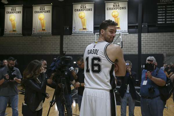 San Antonio Spurs' Pau Gasol takes part in Spurs Media Day held Monday Sept. 26, 2016 at the Spurs practice facility.