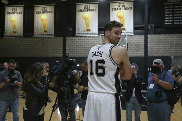 Spurs' Pau Gasol takes part in media day on Sept. 26, 2016 at the practice facility.