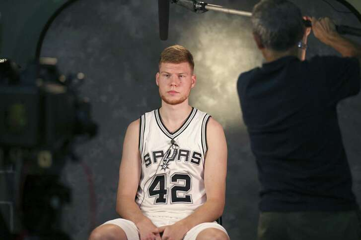 San Antonio Spurs' Davis Bertans takes part in Spurs Media Day held Monday Sept. 26, 2016 at the Spurs practice facility.