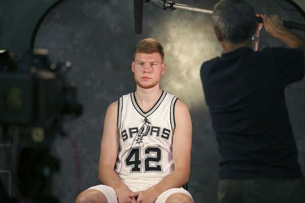 Davis Bertans meets the press on media day at the Spurs' practice facility.