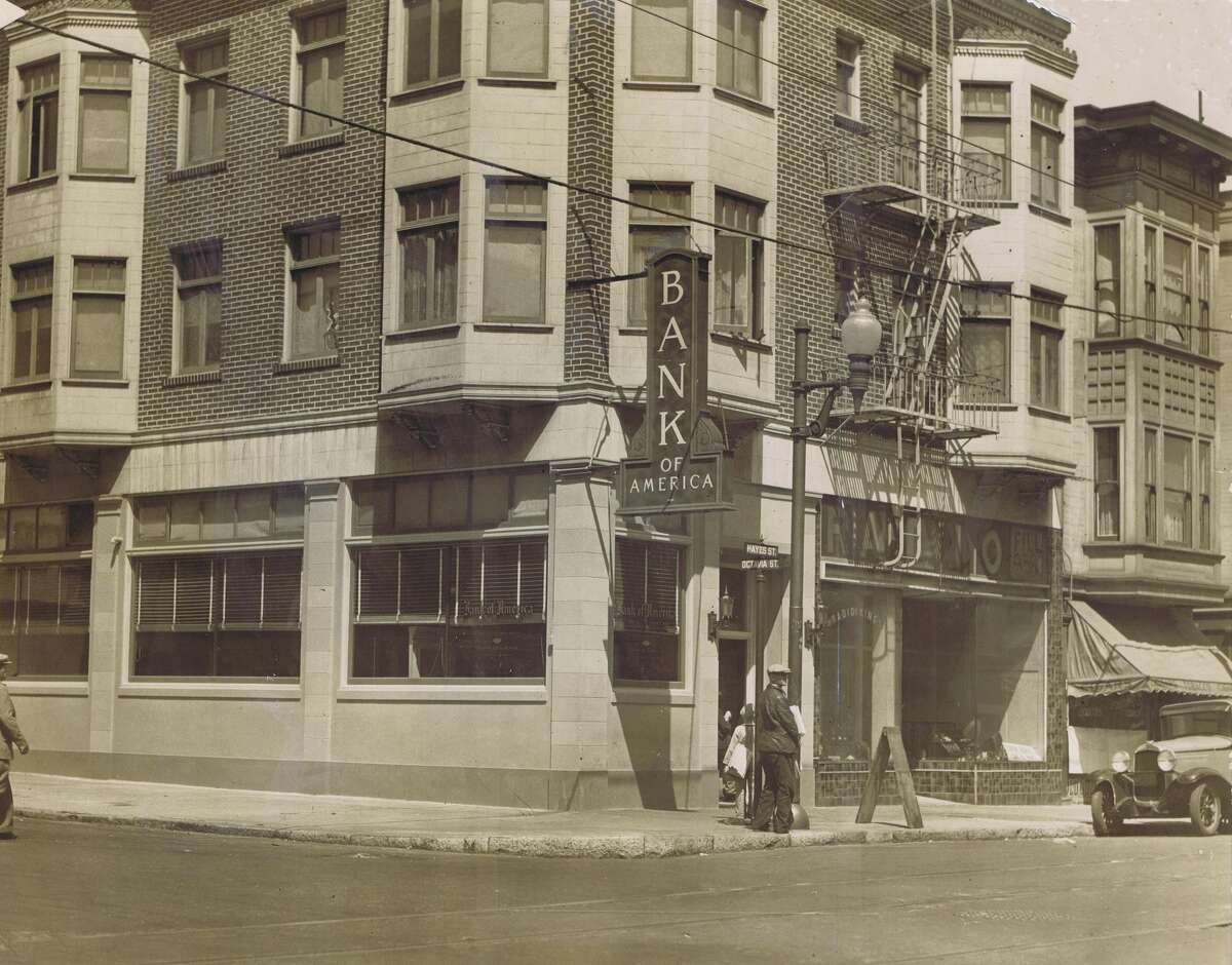 Photo taken in 1939, showing the Bank of America that was located at Hayes and Octavia Streets.