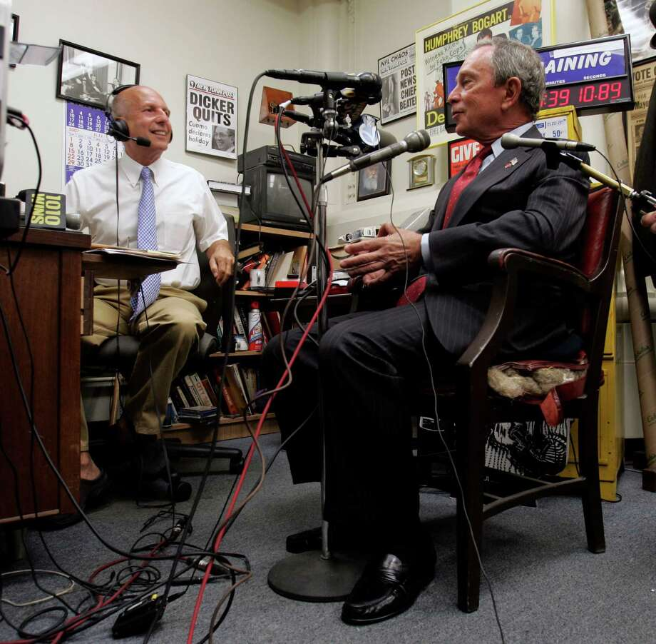 New York City Mayor Michael Bloomberg, right, talks during a radio show with host Fred Dicker at the Capitol in Albany, N.Y., Monday, July 16, 2007.  Bloomberg was in Albany  to make an apparent last-ditch push for his toll plan to reduce traffic and pollution.  (AP Photo/Mike Groll) Photo: Mike Groll / AP