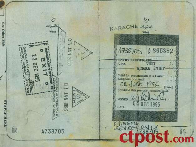 A page from the passport of Faisal Shahzad. Shahzad has been arrested in connection with the attempted bombing of Times Square on Saturday, May 1, 2010. The passport gave Shahzad permission to enter the United Kingdom. Photo: Connecticut Post