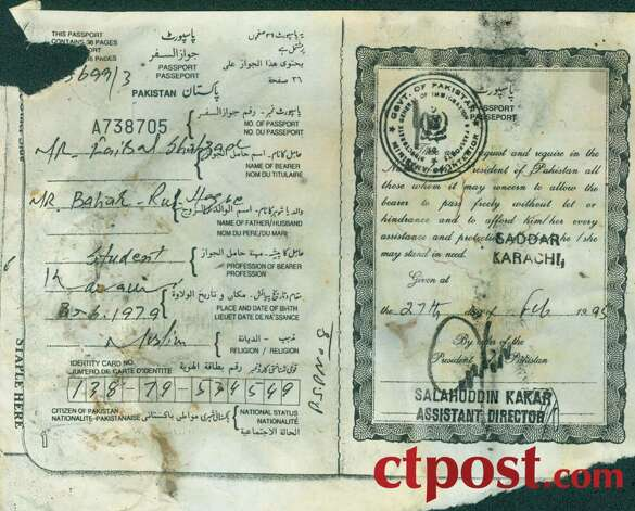 A page from the passport of Faisal Shahzad. Shahzad has been arrested in connection with the attempted bombing of Times Square on Saturday, May 1, 2010. The passport gave Shahzad permission to enter Pakistan. Photo: Connecticut Post