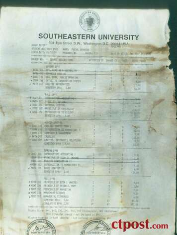 The transcript from the now-defunct Southeastern University in Washington, D.C., for Faisal Shahzad issued in December of 1998. Shahzad has been arrested in connection with the attempted bombing of Times Square on Saturday, May 1, 2010. Photo: Connecticut Post