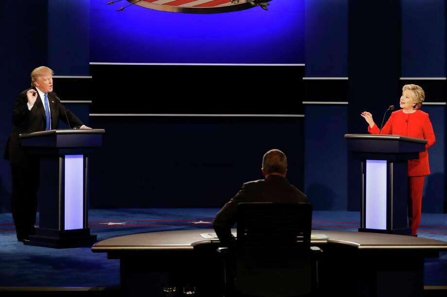 Republican presidential nominee Donald Trump and Democratic presidential nominee Hillary Clinton spar during the presidential debate at Hofstra University in Hempstead, N.Y., Monday, Sept. 26, 2016. Photo: David Goldman, AP / Copyright 2016 The Associated Press. All rights reserved.