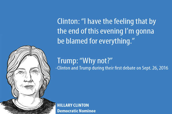 Zingers and one-liners between Hillary Clinton and Donald Trump during the first debate on Sept. 26, 2016.