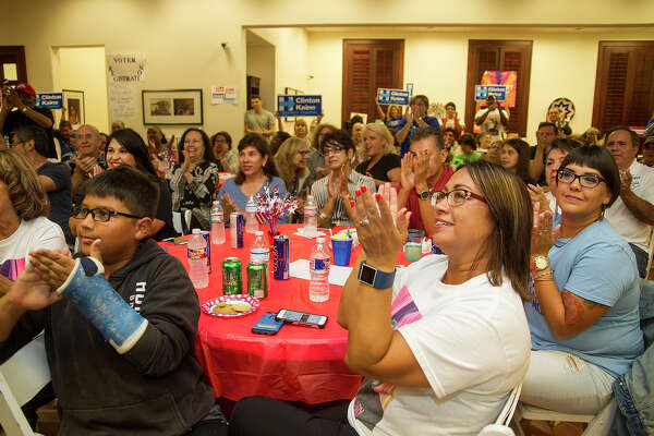 Local democrats cheer at the debate watch party, Monday, Sept. 26, 2016 at Hillary Clinton volunteer headquarters in San Antonio.