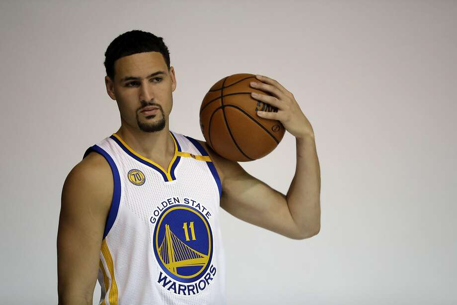 8f3d46fa5e0 Golden State Warriors  Klay Thompson during NBA basketball media day  Monday