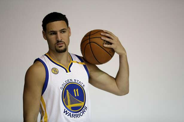 Golden State Warriors' Klay Thompson during NBA basketball media day Monday, Sept. 26, 2016, in Oakland, Calif. (AP Photo/Marcio Jose Sanchez)