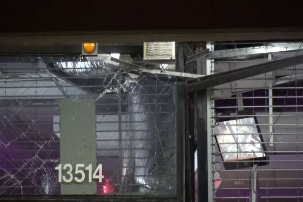 A screenshot of footage of a T-Mobile store in the 13500 block of the East Freeway in Houston, Texas. Around 1:45 a.m. on Sept. 27, 2016, a pickup truck smashed into the front door of the store. Police did not know if anything had been stolen.