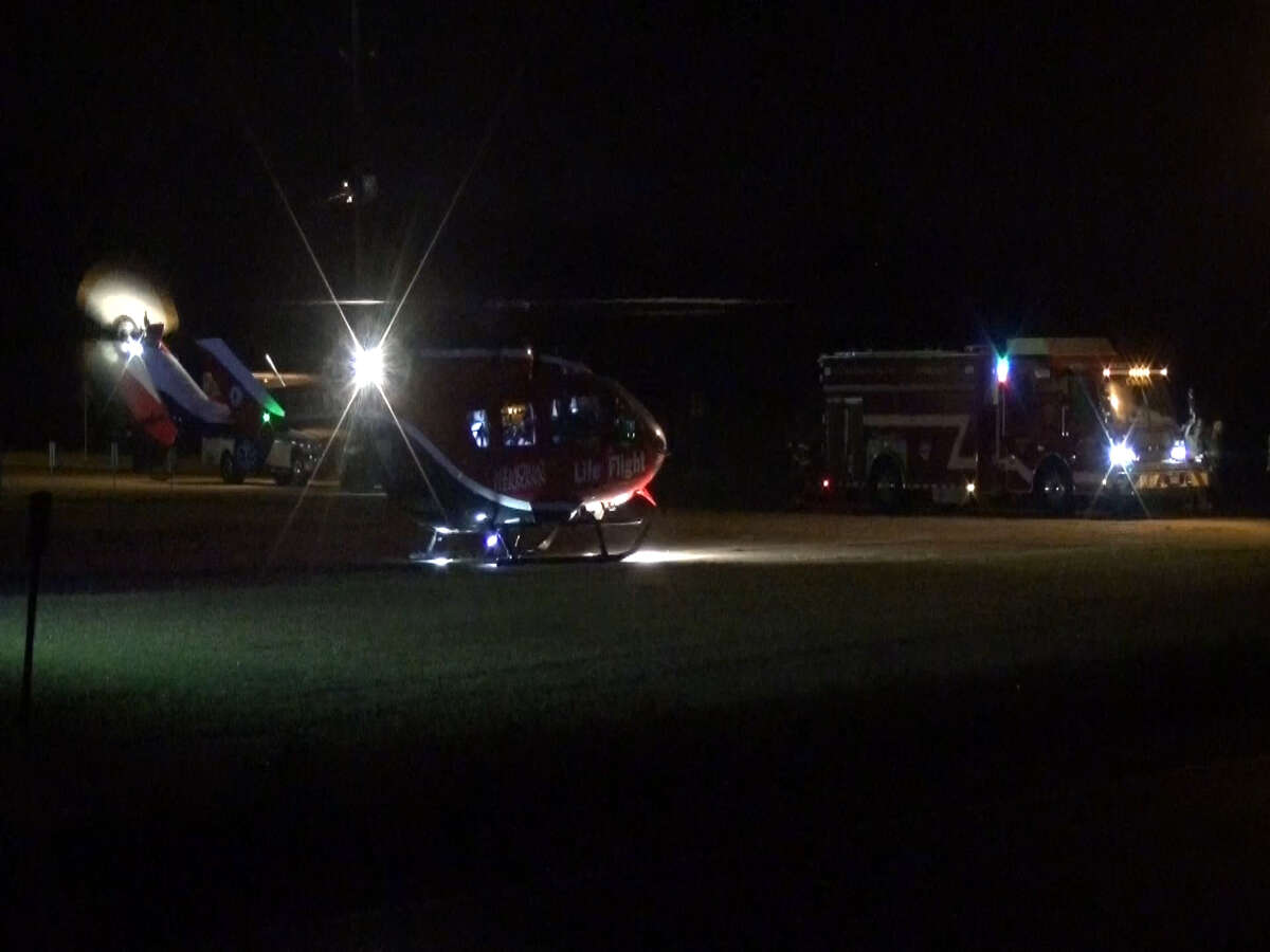 A screenshot of footage of a LifeFlight medical helicopter along Indian Shores Road near FM 2100 in Crosby, Texas. Around 3 a.m. on Sept. 27, 2016, a vehicle crash occurred in the area. One person had to be airlifted to the hospital.