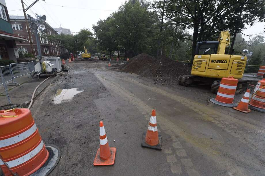 Work continues on Lake Avenue in Albany, NY, on Tuesday, Sept. 27, 2016, after a water break was repaired. The road bed still needs work but water restrictions have been canceled. (Skip Dickstein/Times Union)