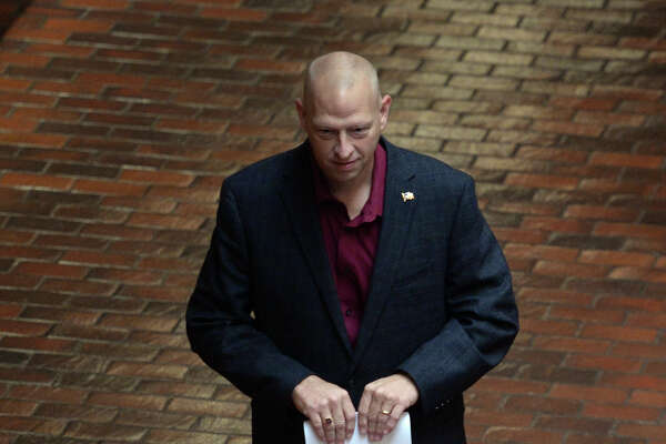 Liberty County Constable John Joslin's trial was postponed Thursday and will continue in early October. Joslin is charged with a misdemeanor in connection with Michael Jon Gelagotis who was convicted earlier this year for pretending to be a police officer.  Photo taken Thursday, July 28, 2016 Guiseppe Barranco/The Enterprise