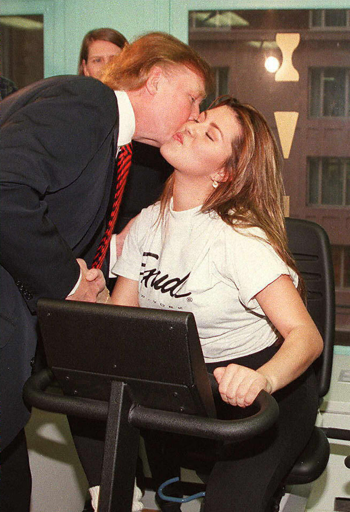 Alicia Machado, Miss Universe 1996, works out on Jan. 28, 1997, in New York. She was criticized by some for gaining weight after the pageant and the story has become a flash point in the 2016 presidential race between Donald Trump and Hillary Clinton.