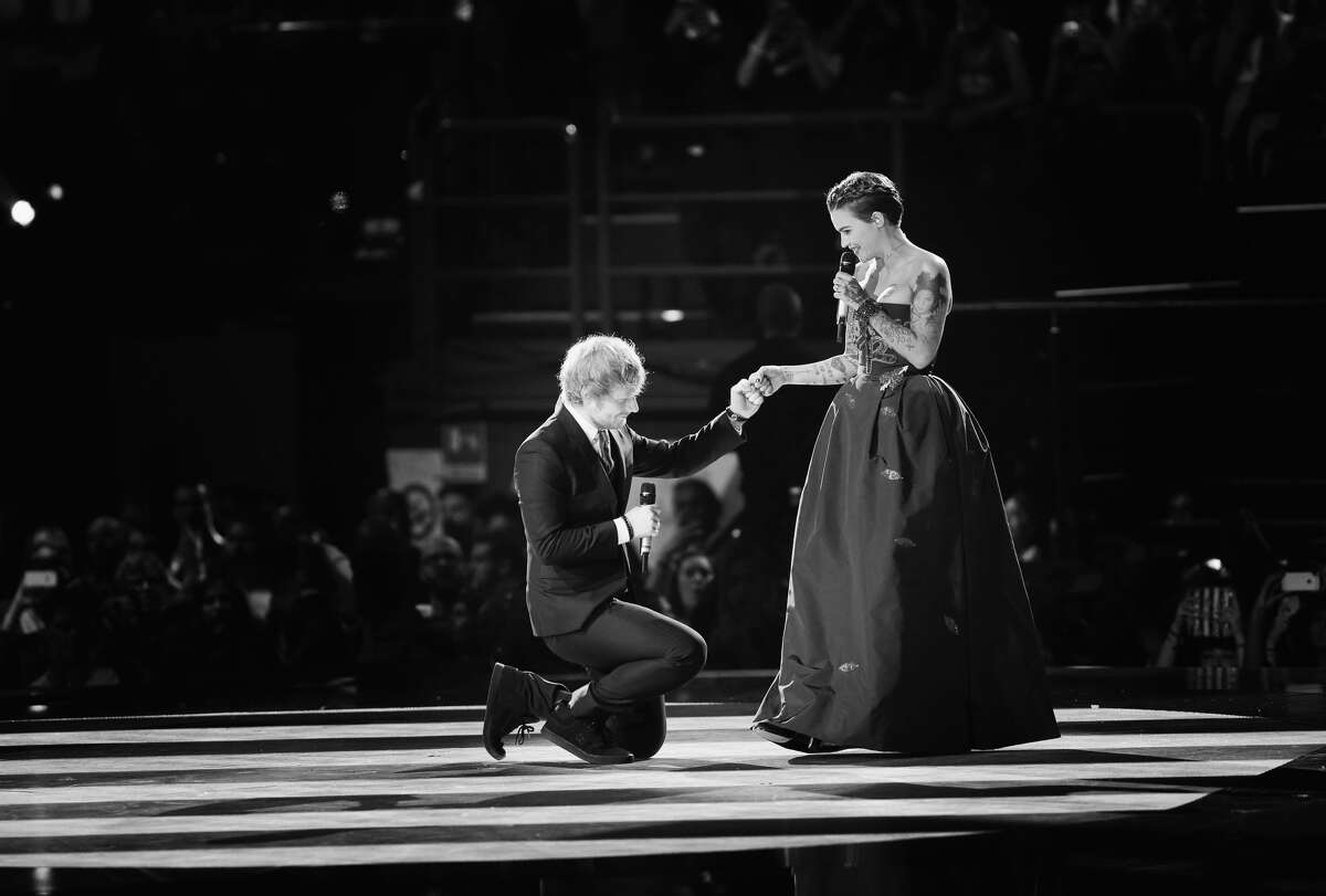 MILAN, ITALY - OCTOBER 25: (EXCLUSIVE COVERAGE) (EDITORS NOTE: Image has been converted to black and white) An alternative view of hosts Ed Sheeran and Ruby Rose on stage during the MTV EMA's 2015 at the Mediolanum Forum on October 25, 2015 in Milan, Italy. (Photo by Vittorio Zunino Celotto/MTV 2015/Getty Images for MTV)