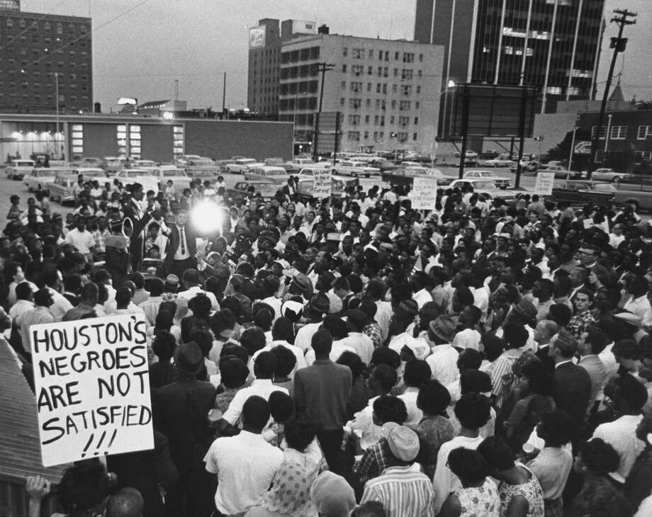 In May 1965, the Rev. William Lawson led a civil-rights protest downtown. Photo: Curtis McGee, Staff / Houston Chronicle
