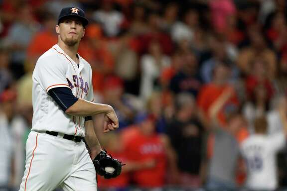Houston Astros relief pitcher Ken Giles (53) reacts after Texas Rangers Elvis Andrus' triple during the ninth inning of an MLB game at Minute Maid Park, Tuesday, Sept. 13, 2016 in Houston.