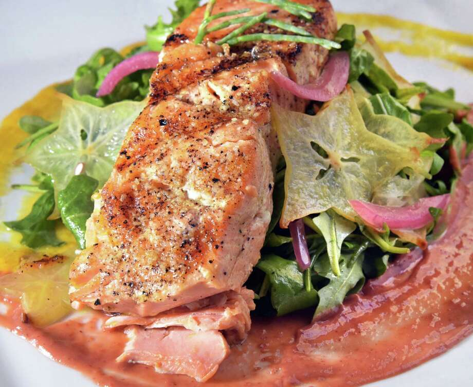 Wild caught salmon salad at the City Beer Hall at the corner of Howard & Lodge Streets Wednesday Sept. 21, 2016 in Albany, NY.  (John Carl D'Annibale / Times Union) Photo: John Carl D'Annibale / 40038105A