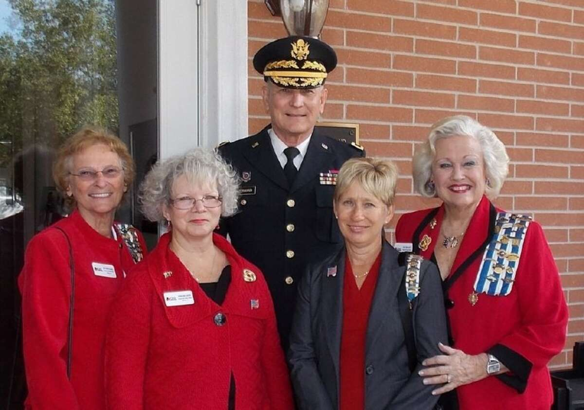 Pictured from left during the recent Dedication Ceremonies for the new Fisher House in Houston are Beverly Pritchard, Regent of the Heritage Trails DAR chapter; Debra Mellinger, Heritage Trails DAR Veterans chairman; Brigadier General Henry Ostermann, USA-Ret.; (Dr. Ostermann served on the staff of the Michael E. DeBakey Hospital from 1974 through 2009 and retired as the Clinical Support Service Line Executive); Cherry Calender, First Vice Regent of Heritage Trail DAR chapter and Pat Spackey, Historian of the chapter and State Chairman for the DAR Texas Flag Committee.