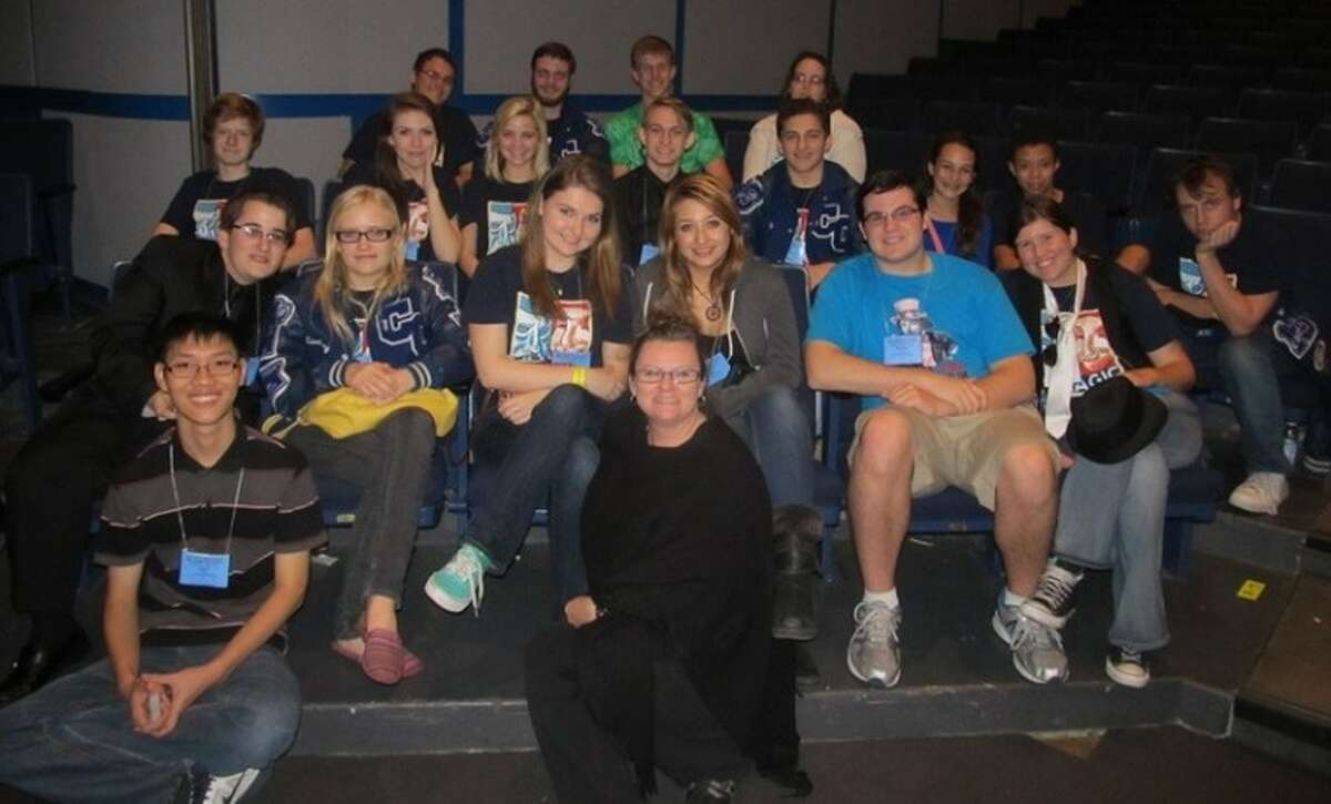 Cypress Creek High School theatre arts students were successful at the State Thespian Convention Nov. 29-Dec. 1. Pictured (front row, left to right) are: Huynh Pham and director Marilyn Ocker; (second row) Nathan Crooks, Lindsey Vrana, Hayley Morlock, Gina Magee, Brandon Post and Rachel McCalister; (third row) Meric SoRelle, Andi Dinehart, Anna Barnes, Chad Dyer, Alex Martinez, Ally Fleischhauer, Brice Phillips and Matthew George; and (top row) Alex Jahir, Ben Granger, James Haralson and technical director Michelle Smith.