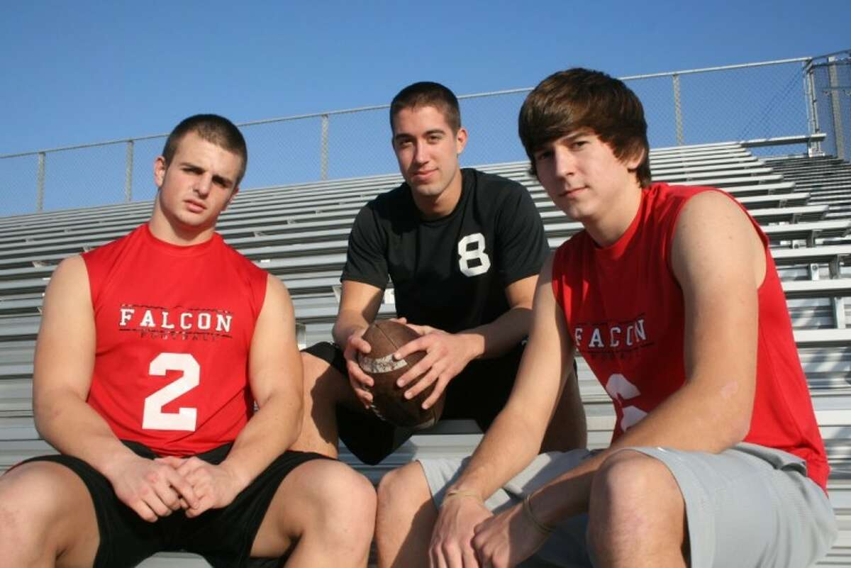 Huffman Falcon seniors Austin Potter (linebacker), Cole DeBerry (quarterback) and Riley Julian (wide receiver) were named to the Texas Sportswriters Football All State list. All three were on the Honorable Mention list and set records at their position.