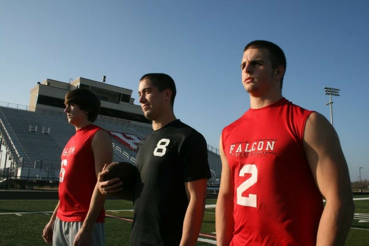 Huffman Falcon seniors Riley Julian (wide receiver), Cole DeBerry (quarterback), and Austin Potter (linebacker) helped lead the Falcons to one of their best seasons in school history. Julian and Potter will play football at the next level while DeBerry will play baseball in college.