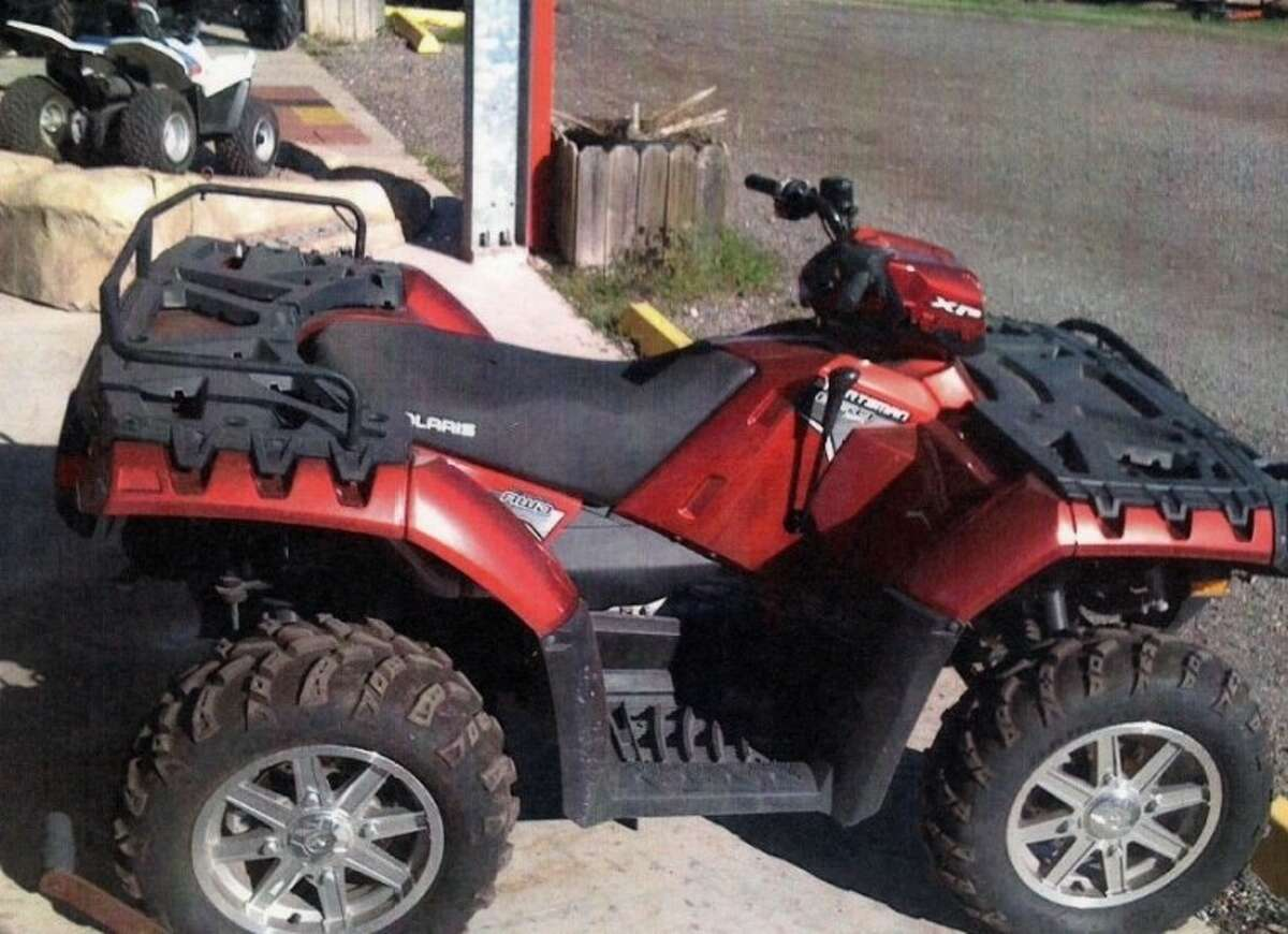 The Brazoria Police Department is seeking information on the theft of a 2011 red Polaris SPMXP ATV 4-Wheeler that was stolen from inside a locked fence at the Heritage Foundation Building (the old elementary school) on West Smith Street in Brazoria during the night of December 4 and the early morning of December 5, 2012.