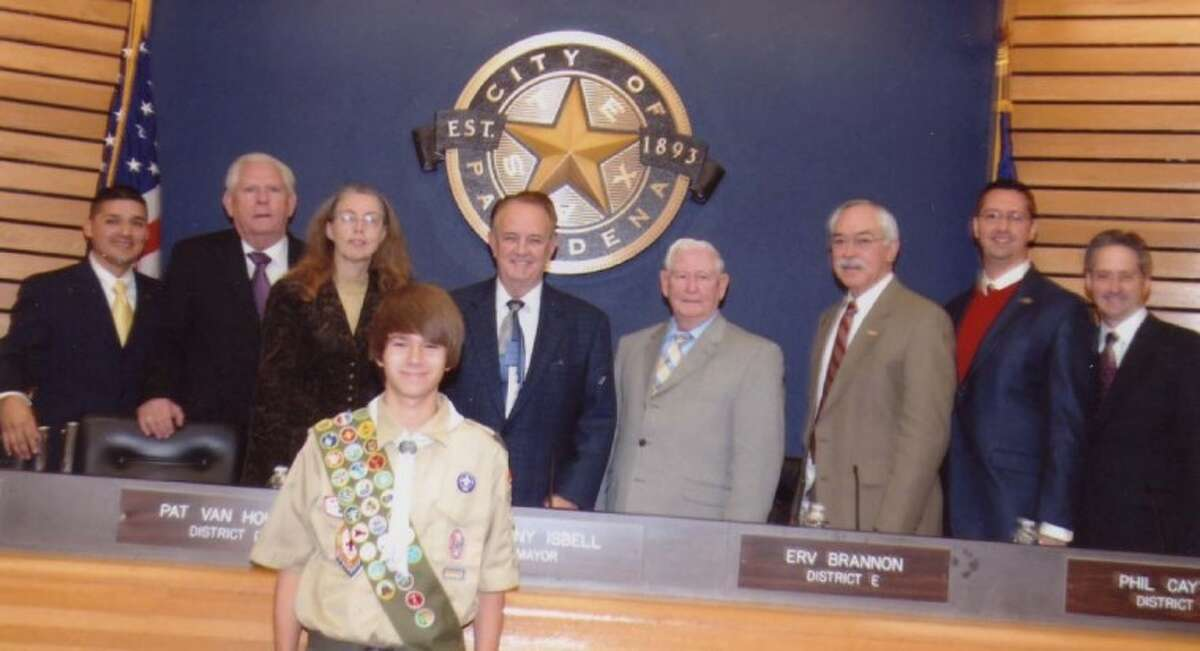 Dustin Morrison, Eagle Scout, gives the invocation at Pasadena City Council De. 27. Morrison, a senior at Deer Park High, will be honored with an Eagle Scout Court of Honor. He is pictured with the Pasadena City Counci.