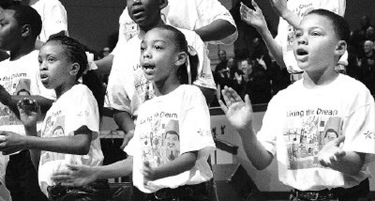 The Children's Mass King Choir provided inspirational songs at The Woodlands 22nd annual commemorative celebration honoring Dr. Martin Luther King, Jr. This year the event will be held noon Jan. 17 at The Woodlands United Methodist Church.