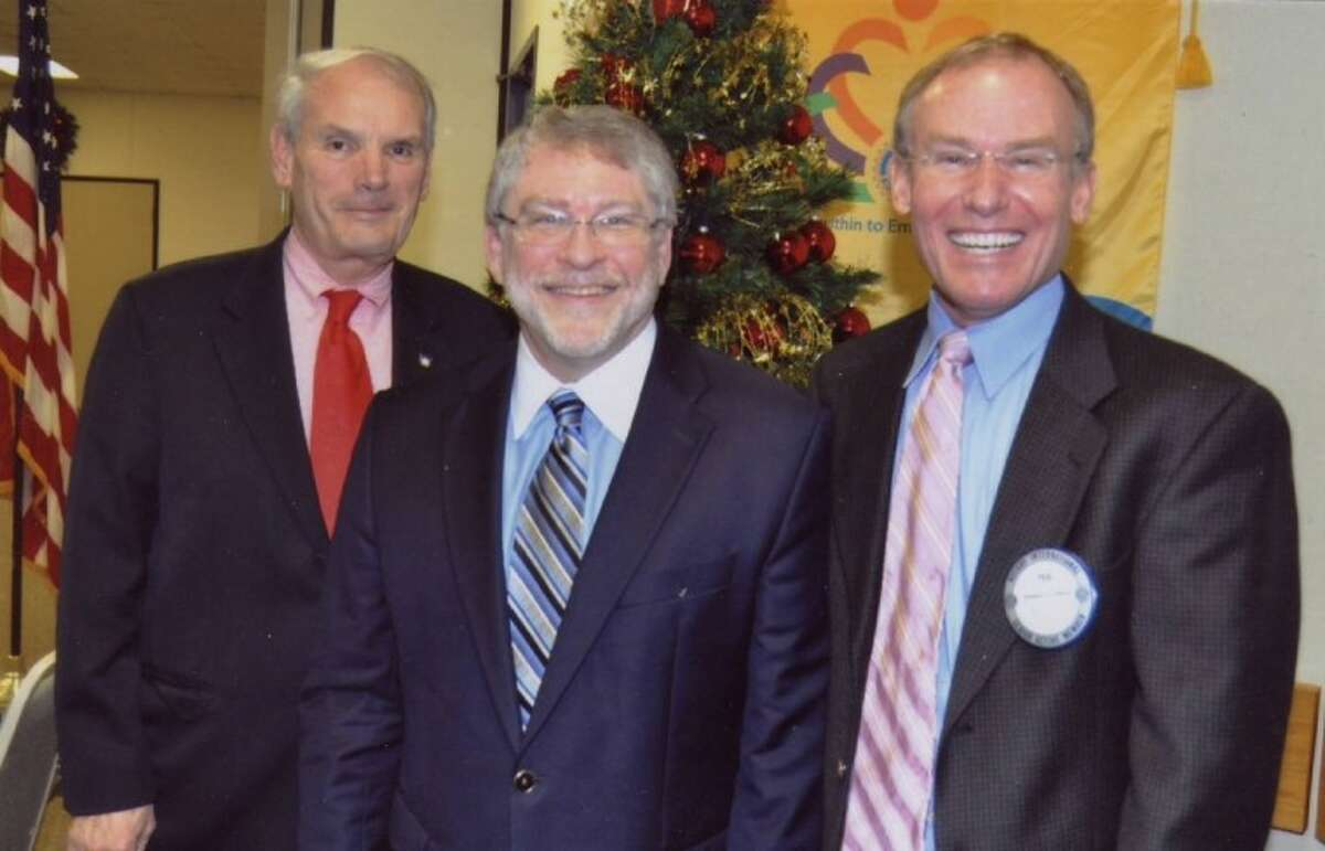 Pictured at the recent Pasadena Rotary Club meeting, are, from left, Lee Clark, Pasadena Rotary President; Reverend Dr. Ron Lyles, speaker/member and Ted Sullivan, Pasadena Rotary Program Chairman.