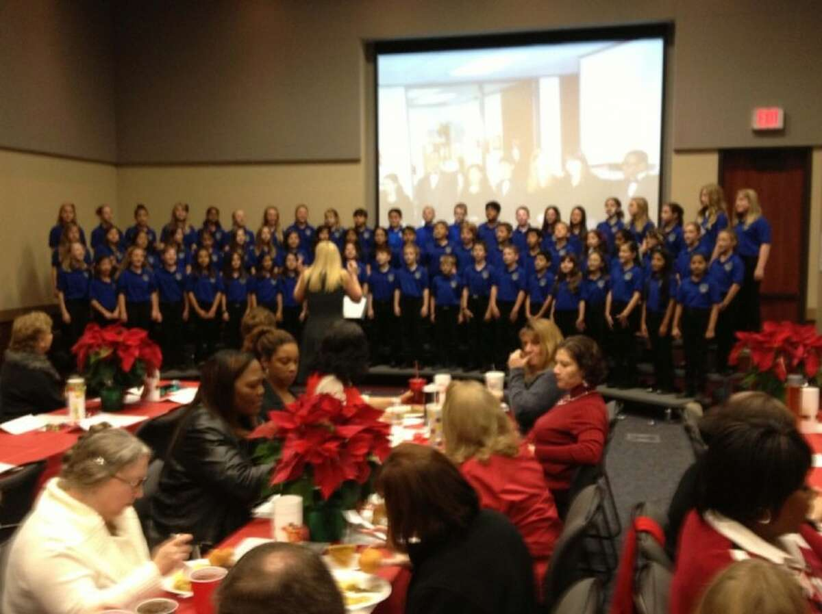 The Shafer Elementary 5th grade Harmony Brigade was invited to sing at the Region 4 Education Service Center Holiday Luncheon on Dec. 20, 2012. The Harmony Brigade under the direction of Mrs. Melanie Simpson sang several holiday songs and was presented with an Appreciation Plaque by the ESC Executive Director Dr. Pamela Wells.