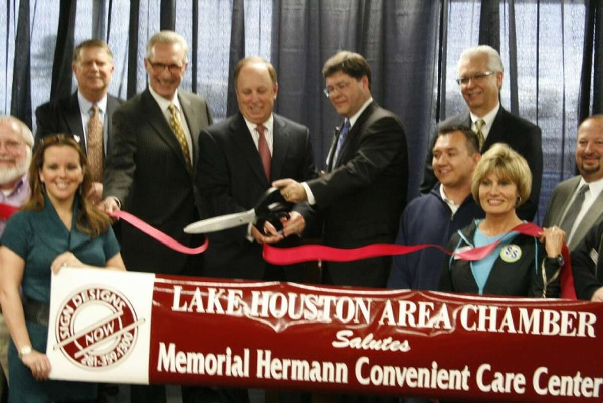 The first of three ribbon cutting ceremonies with The Community Chamber of Commerce of East Montgomery County, the Lake Houston Area Chamber of Commerce and the Liberty-Dayton Chamber of Commerce, representatives of Memorial Hermann with Lake Houston Area Chamber members cut the ribbon Jan. 3.