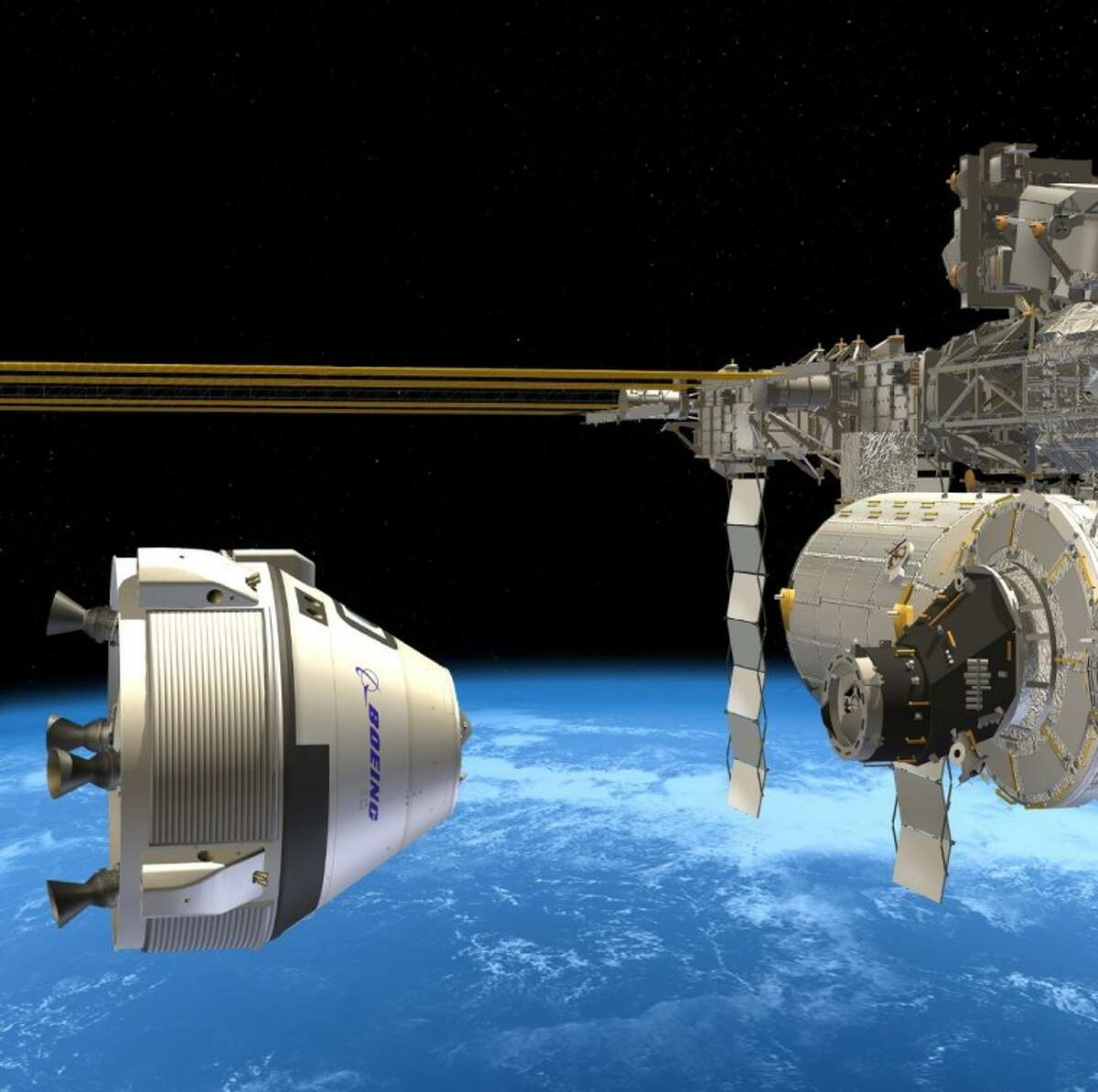 Boeing is working to develop what could become a true commercial space transportation system -- a commercial service to take crew to the International Space Station and other destinations. Show here is an artist concept of Boeing's Crew Space Transportation -100 spacecraft approaching the International Space Station.